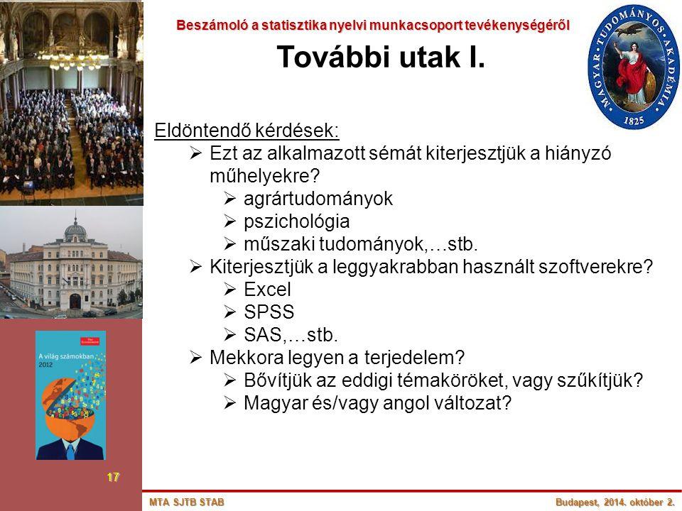 Beszámoló a statisztika nyelvi munkacsoport tevékenységéről Beszámoló a statisztika nyelvi munkacsoport tevékenységéről 17 További utak I. Eldöntendő