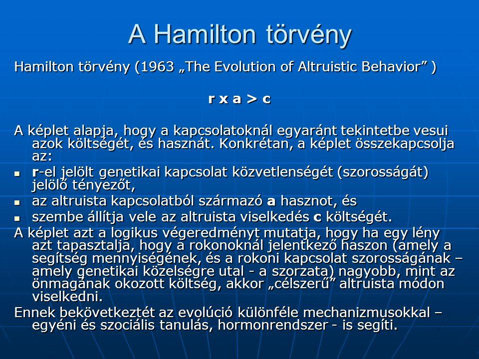 """A Hamilton törvény Hamilton törvény (1963 """"The Evolution of Altruistic Behavior ) r х a > c A képlet alapja, hogy a kapcsolatoknál egyaránt tekintetbe vesui azok költségét, és hasznát."""