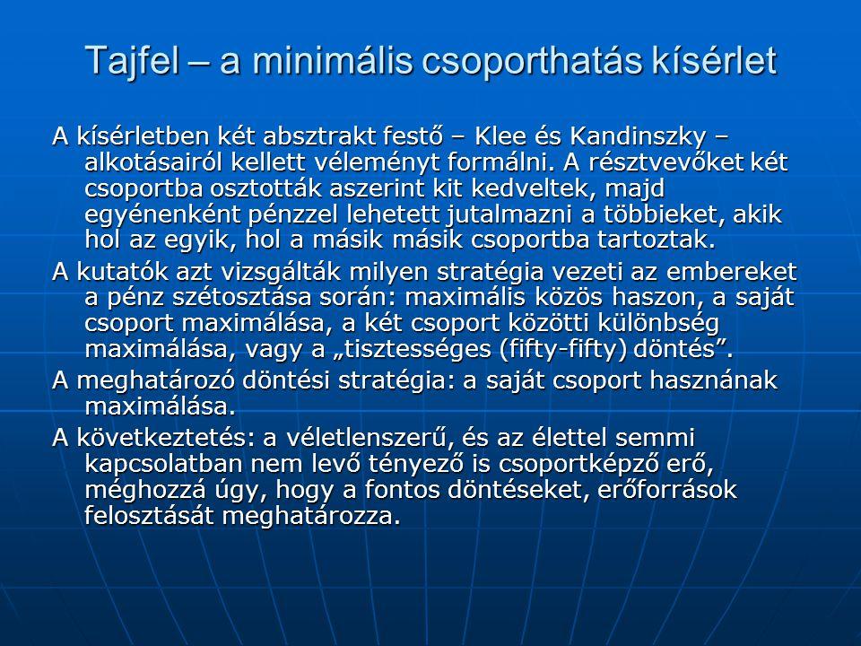 Tajfel – a minimális csoporthatás kísérlet A kísérletben két absztrakt festő – Klee és Kandinszky – alkotásairól kellett véleményt formálni. A résztve
