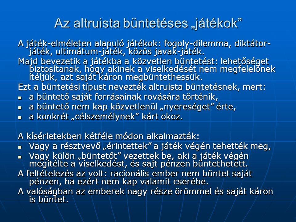 """Az altruista büntetéses """"játékok A játék-elméleten alapuló játékok: fogoly-dilemma, diktátor- játék, ultimátum-játék, közös javak-játék."""