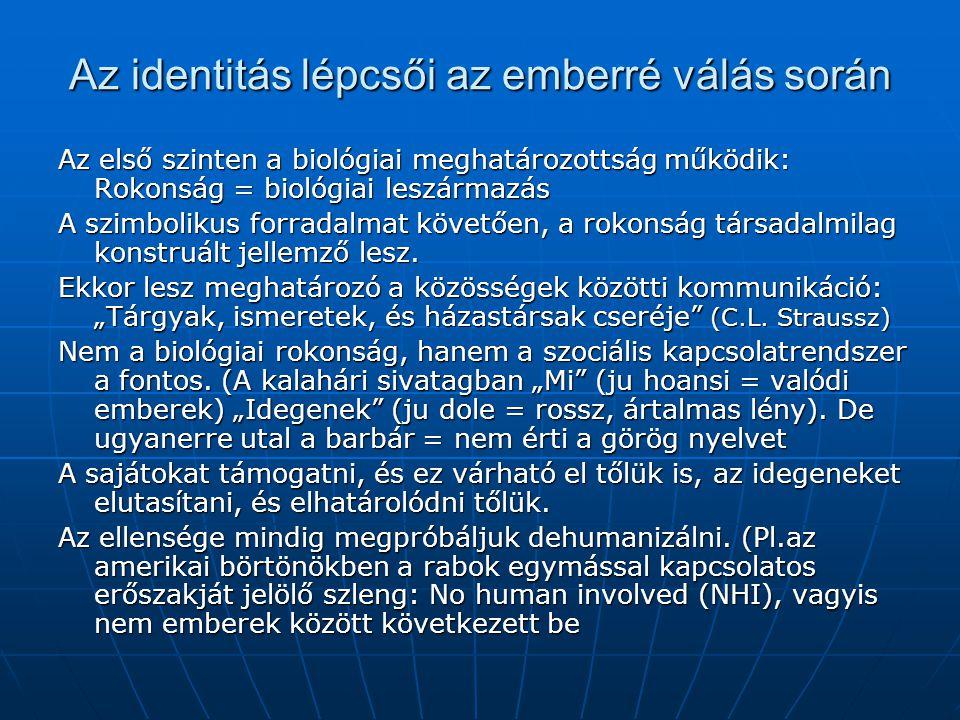 Az identitás lépcsői az emberré válás során Az első szinten a biológiai meghatározottság működik: Rokonság = biológiai leszármazás A szimbolikus forradalmat követően, a rokonság társadalmilag konstruált jellemző lesz.
