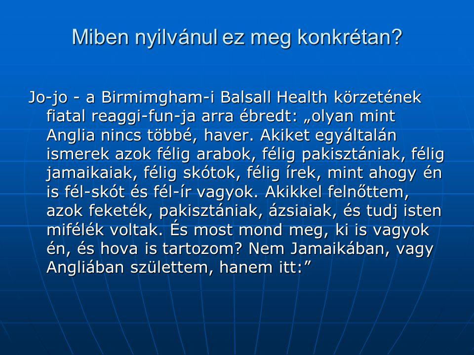 """Miben nyilvánul ez meg konkrétan? Jo-jo - a Birmimgham-i Balsall Health körzetének fiatal reaggi-fun-ja arra ébredt: """"olyan mint Anglia nincs többé, h"""