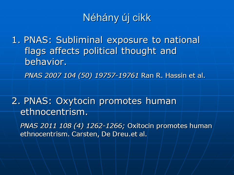 Néhány új cikk 1. PNAS: Subliminal exposure to national flags affects political thought and behavior. PNAS 2007 104 (50) 19757-19761 Ran R. Hassin et