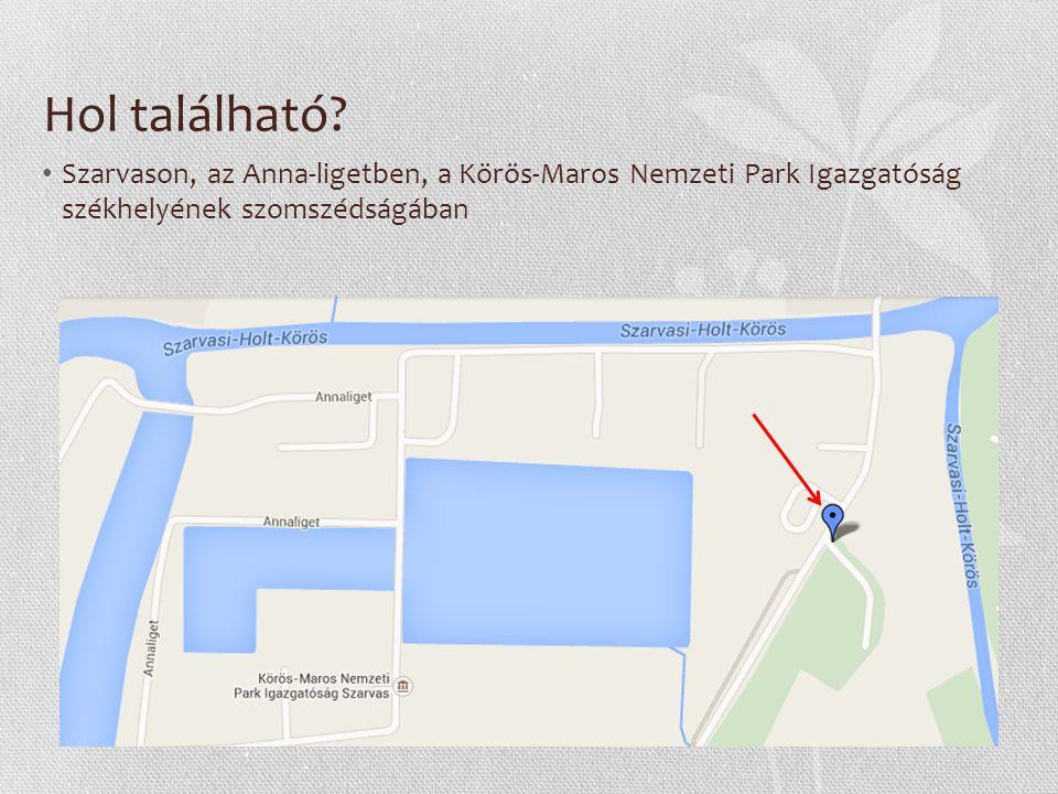 Hol található? Szarvason, az Anna-ligetben, a Körös-Maros Nemzeti Park Igazgatóság székhelyének szomszédságában