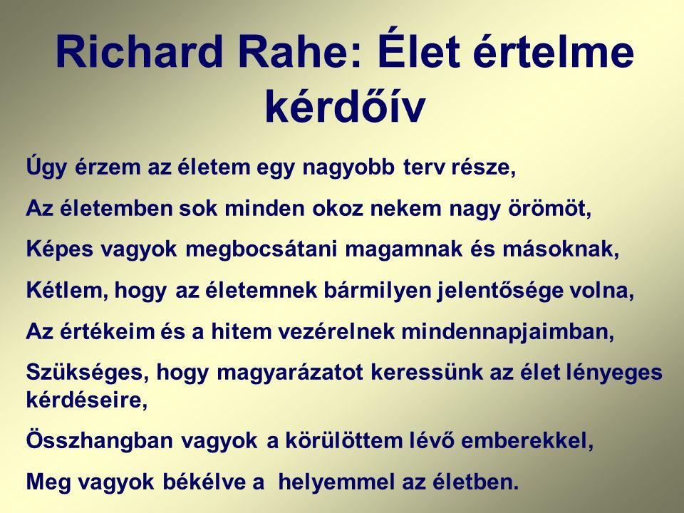 Richard Rahe: Élet értelme kérdőív Úgy érzem az életem egy nagyobb terv része, Az életemben sok minden okoz nekem nagy örömöt, Képes vagyok megbocsáta