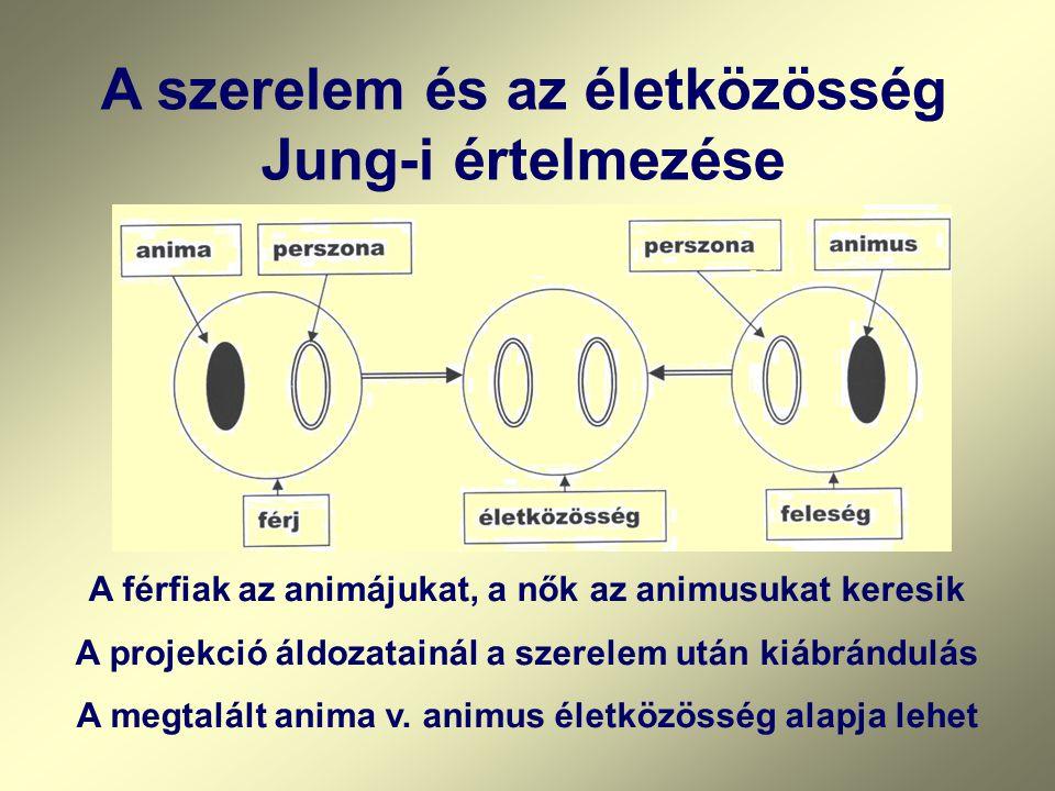 A szerelem és az életközösség Jung-i értelmezése A férfiak az animájukat, a nők az animusukat keresik A projekció áldozatainál a szerelem után kiábrán