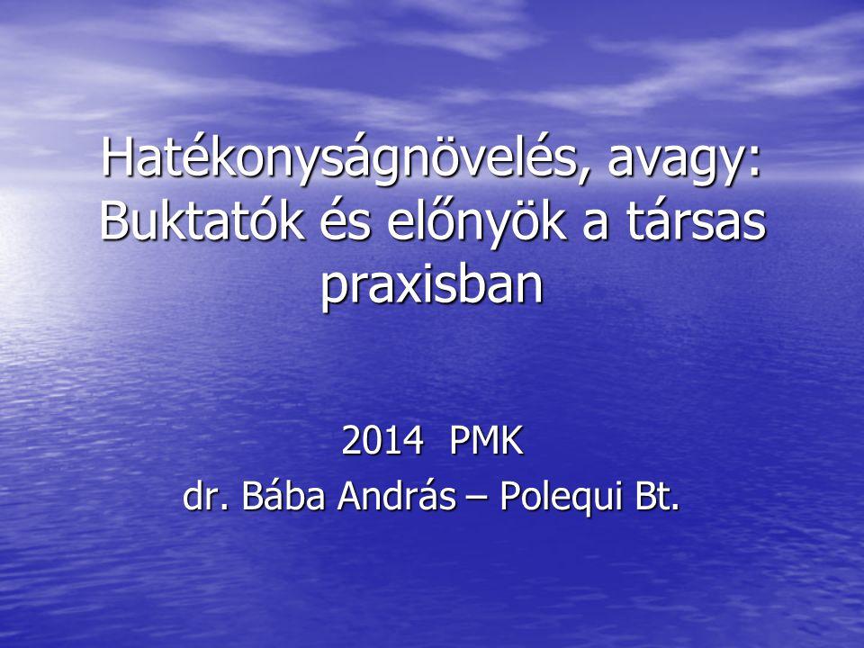 Hatékonyságnövelés, avagy: Buktatók és előnyök a társas praxisban 2014 PMK dr.