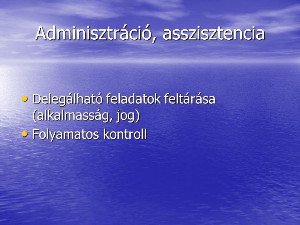 Adminisztráció, asszisztencia Delegálható feladatok feltárása (alkalmasság, jog) Delegálható feladatok feltárása (alkalmasság, jog) Folyamatos kontroll Folyamatos kontroll