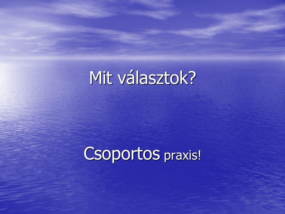 Mit választok Csoportos praxis!