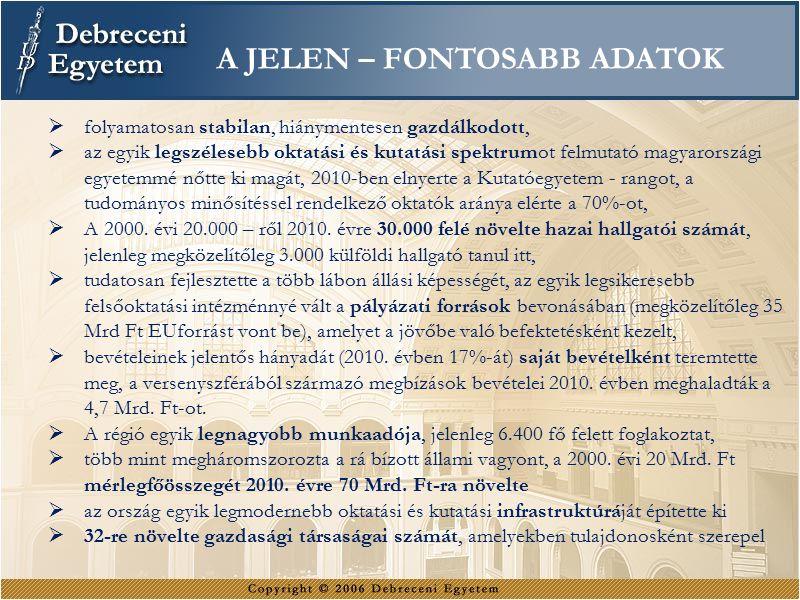  folyamatosan stabilan, hiánymentesen gazdálkodott,  az egyik legszélesebb oktatási és kutatási spektrumot felmutató magyarországi egyetemmé nőtte ki magát, 2010-ben elnyerte a Kutatóegyetem - rangot, a tudományos minősítéssel rendelkező oktatók aránya elérte a 70%-ot,  A 2000.