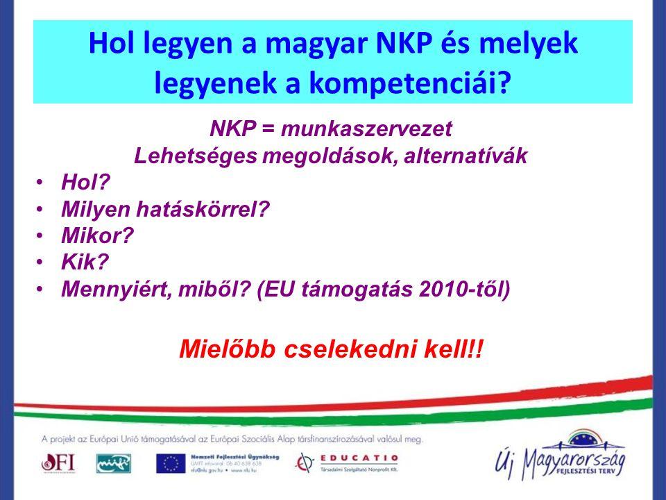 Hol legyen a magyar NKP és melyek legyenek a kompetenciái? NKP = munkaszervezet Lehetséges megoldások, alternatívák Hol? Milyen hatáskörrel? Mikor? Ki