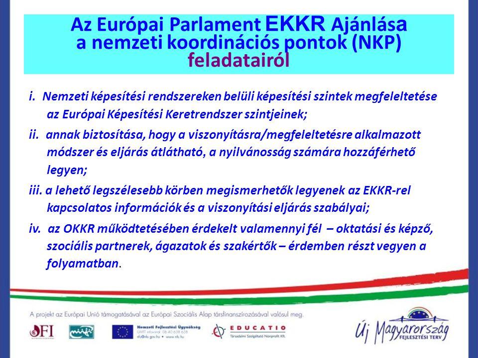 Az Európai Parlament EKKR Ajánlás a a nemzeti koordinációs pontok (NKP) feladatairól i. Nemzeti képesítési rendszereken belüli képesítési szintek megf