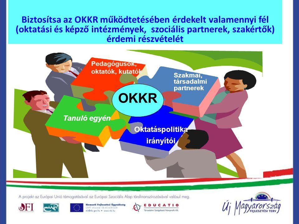 Biztosítsa az OKKR működtetésében érdekelt valamennyi fél (oktatási és képző intézmények, szociális partnerek, szakértők) érdemi részvételét Szakmai, társadalmi partnerek Tanuló egyén Pedagógusok, oktatók, kutatók Oktatáspolitika irányítói OKKR