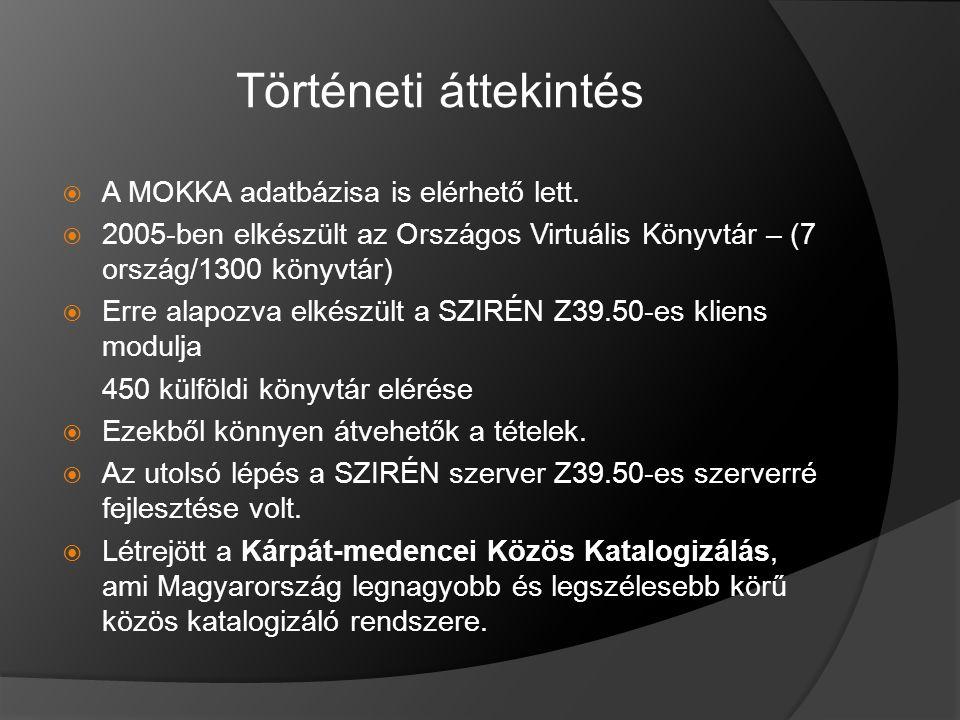 Történeti áttekintés  A MOKKA adatbázisa is elérhető lett.
