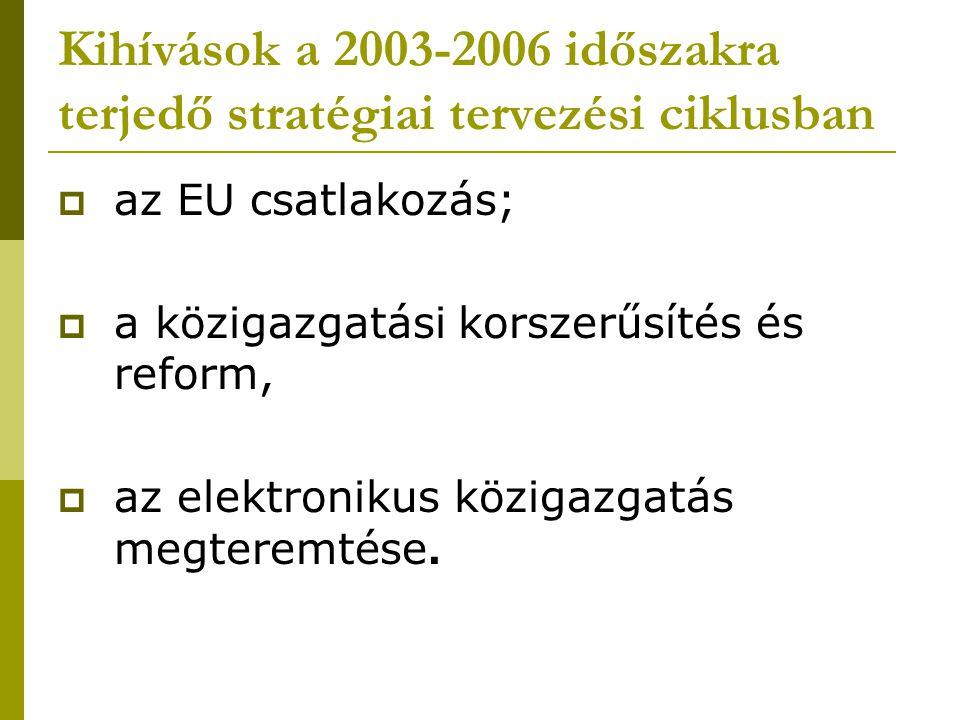 Kihívások a 2003-2006 időszakra terjedő stratégiai tervezési ciklusban  az EU csatlakozás;  a közigazgatási korszerűsítés és reform,  az elektronikus közigazgatás megteremtése.