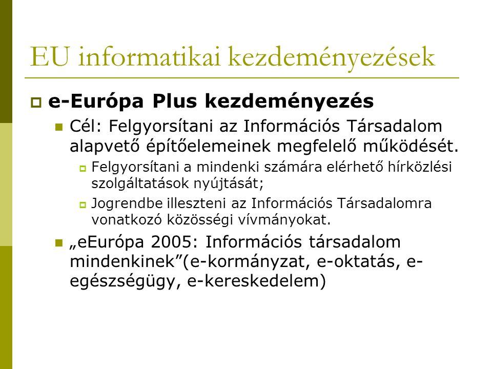 EU informatikai kezdeményezések  e-Európa Plus kezdeményezés Cél: Felgyorsítani az Információs Társadalom alapvető építőelemeinek megfelelő működését.
