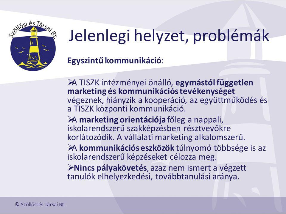 Jelenlegi helyzet, problémák Egyszintű kommunikáció:  A TISZK intézményei önálló, egymástól független marketing és kommunikációs tevékenységet végeznek, hiányzik a kooperáció, az együttműködés és a TISZK központi kommunikáció.