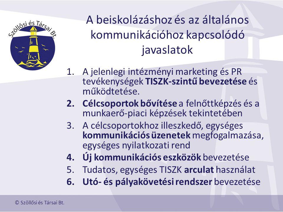 A beiskolázáshoz és az általános kommunikációhoz kapcsolódó javaslatok 1.A jelenlegi intézményi marketing és PR tevékenységek TISZK-szintű bevezetése és működtetése.