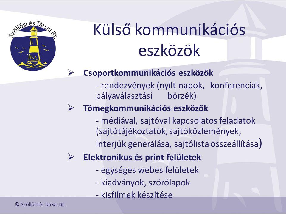 Külső kommunikációs eszközök  Csoportkommunikációs eszközök - rendezvények (nyílt napok, konferenciák, pályaválasztási börzék)  Tömegkommunikációs eszközök - médiával, sajtóval kapcsolatos feladatok (sajtótájékoztatók, sajtóközlemények, interjúk generálása, sajtólista összeállítása )  Elektronikus és print felületek - egységes webes felületek - kiadványok, szórólapok - kisfilmek készítése © Szöllősi és Társai Bt.