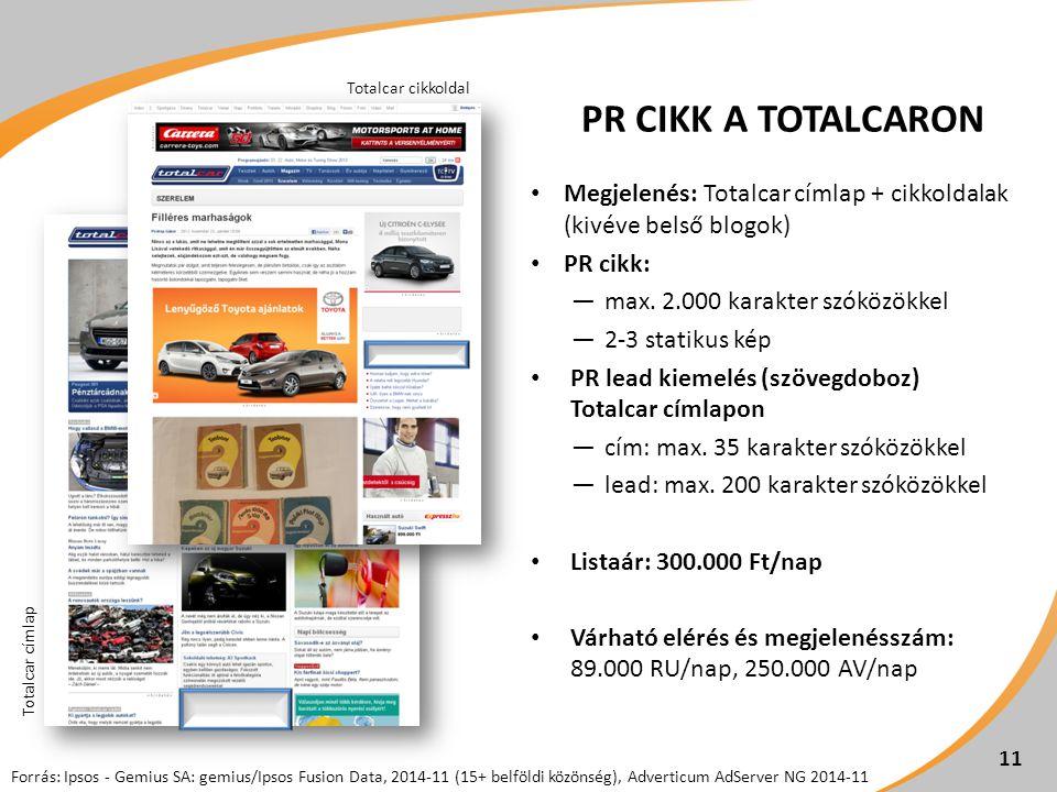PR CIKK A TOTALCARON Megjelenés: Totalcar címlap + cikkoldalak (kivéve belső blogok) PR cikk: ―max.