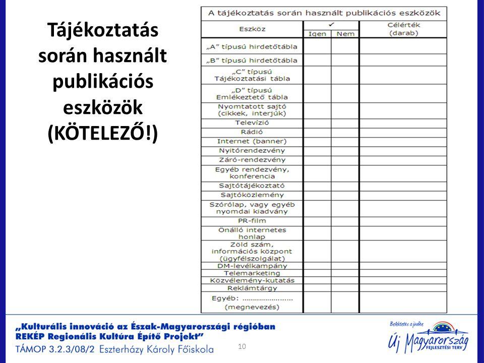 10 Tájékoztatás során használt publikációs eszközök (KÖTELEZŐ!)