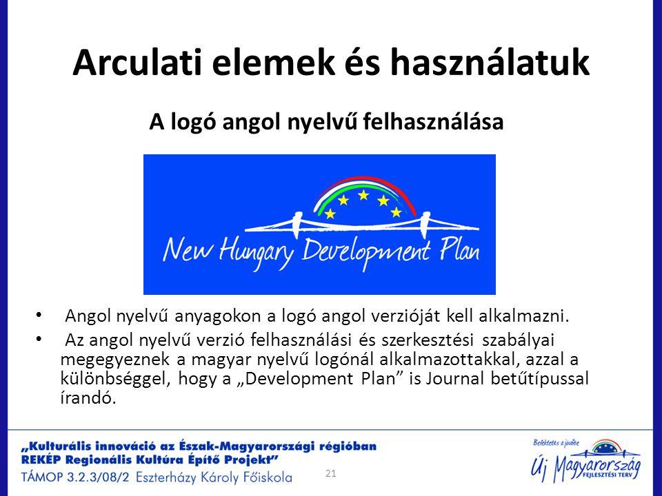 Arculati elemek és használatuk A logó angol nyelvű felhasználása Angol nyelvű anyagokon a logó angol verzióját kell alkalmazni. Az angol nyelvű verzió