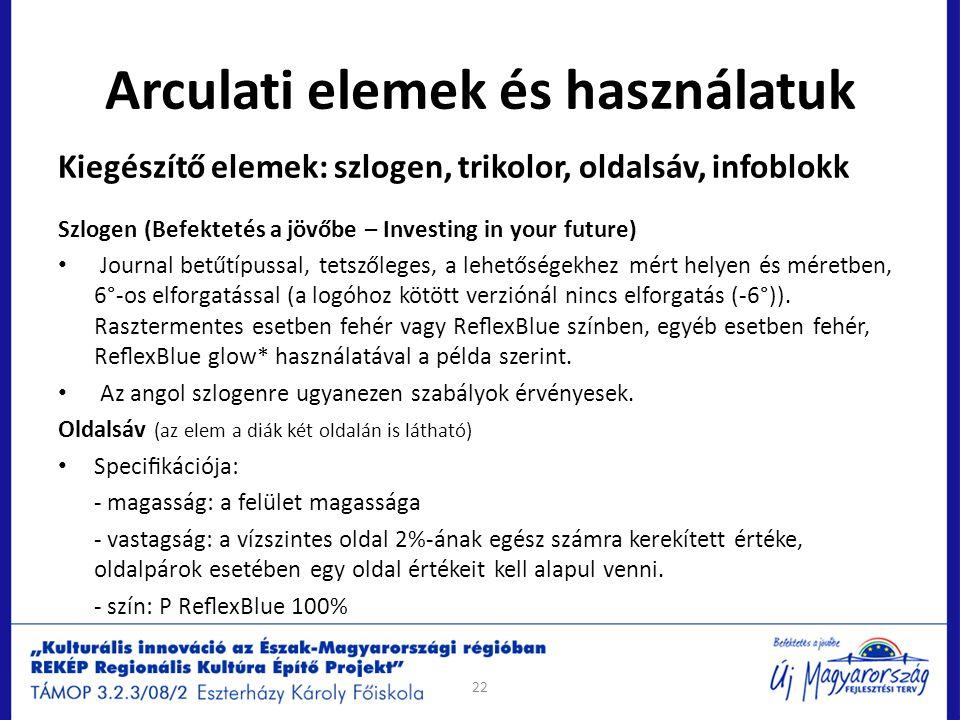 Arculati elemek és használatuk 22 Kiegészítő elemek: szlogen, trikolor, oldalsáv, infoblokk Szlogen (Befektetés a jövőbe – Investing in your future) J