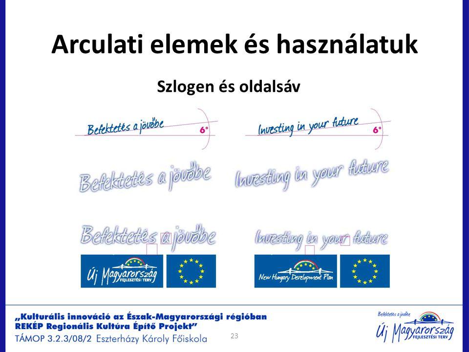 Arculati elemek és használatuk Szlogen és oldalsáv 23