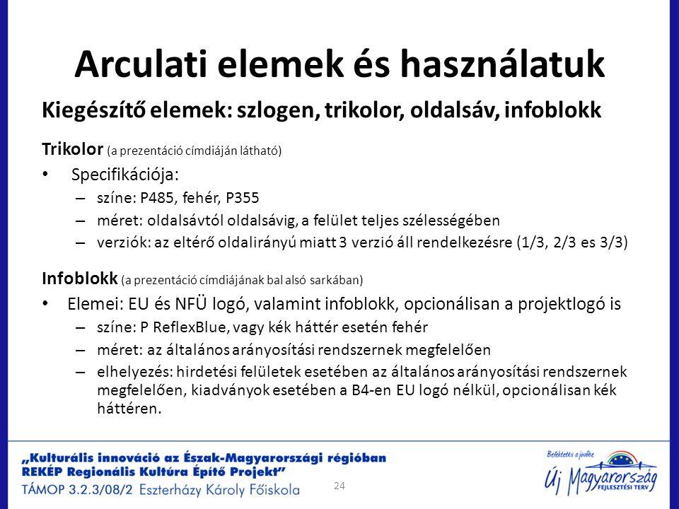 Arculati elemek és használatuk Kiegészítő elemek: szlogen, trikolor, oldalsáv, infoblokk Trikolor (a prezentáció címdiáján látható) Specifikációja: –