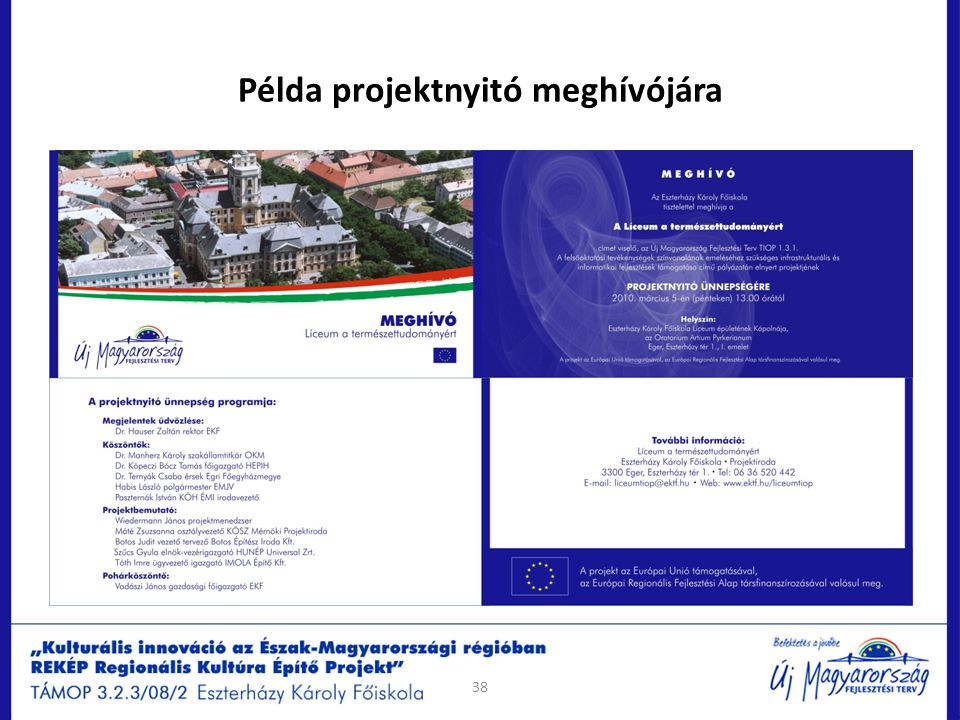 Példa projektnyitó meghívójára 38