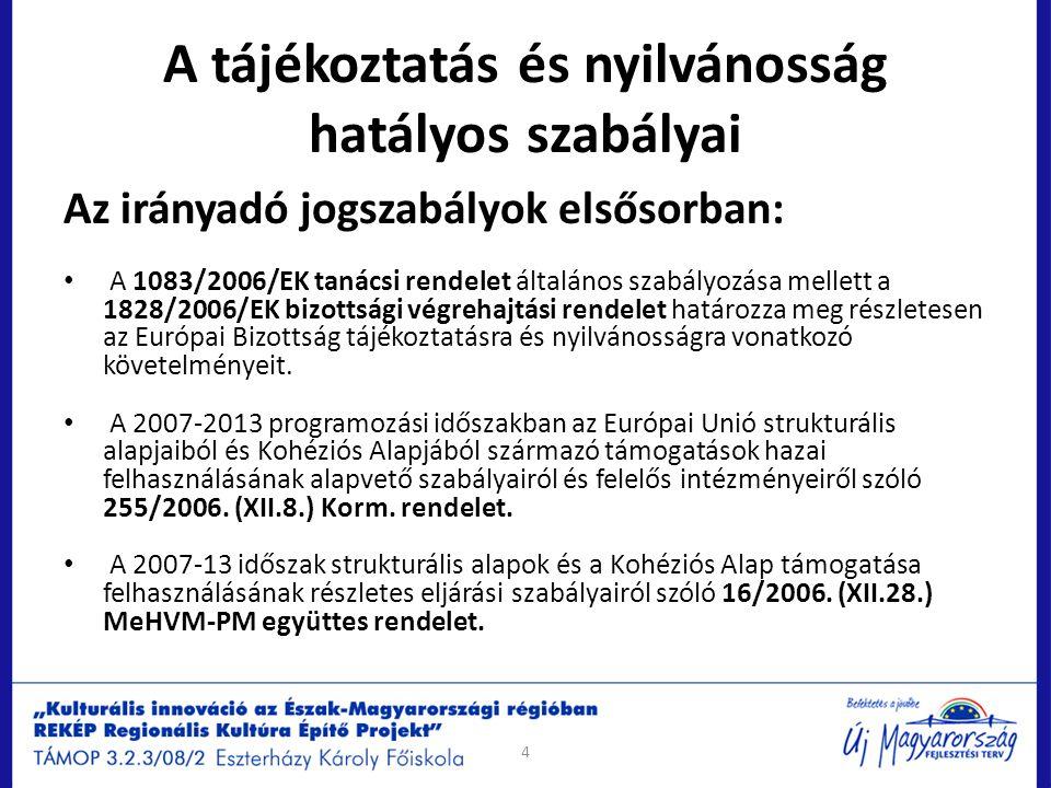 A tájékoztatás és nyilvánosság hatályos szabályai Egyéb szabályok összefoglalása : Arculati kézikönyv Vonatkozó jogszabályok Tájékoztatással és nyilvánossággal kapcsolatos EU jogszabályok: http://eur-lex.europa.eu/RECH_menu.do − 1083/2006/EK tanácsi rendelet http://eurlex.europa.eu/LexUriServ/LexUriServ.do?uri=OJ:L:2006:210:0025:01:HU:HT ML − 1828/2006/EK bizottsági végrehajtási rendelet http://eurlex.europa.eu/LexUriServ/site/hu/oj/2006/l_371/l_37120061227hu00010162.