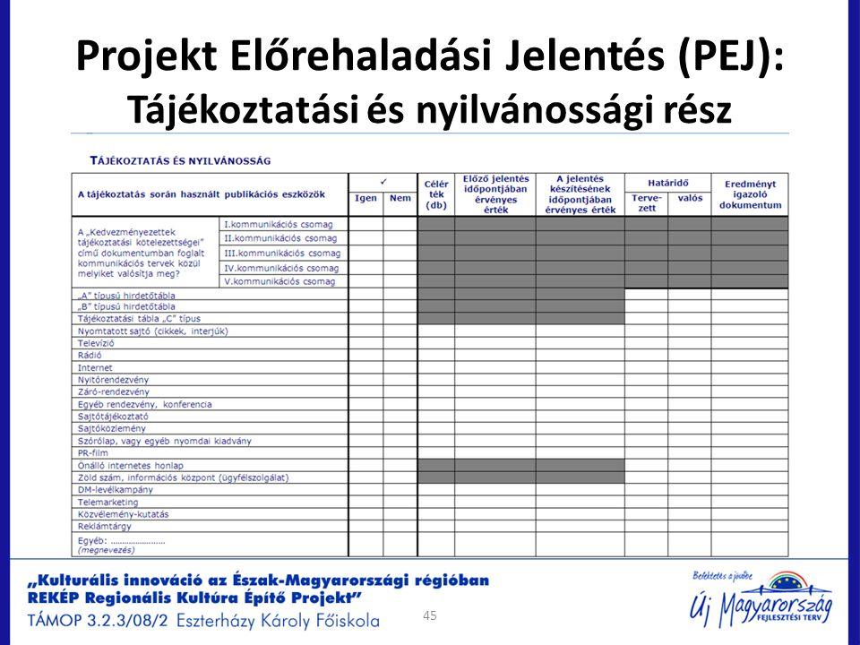 Projekt Előrehaladási Jelentés (PEJ): Tájékoztatási és nyilvánossági rész 45