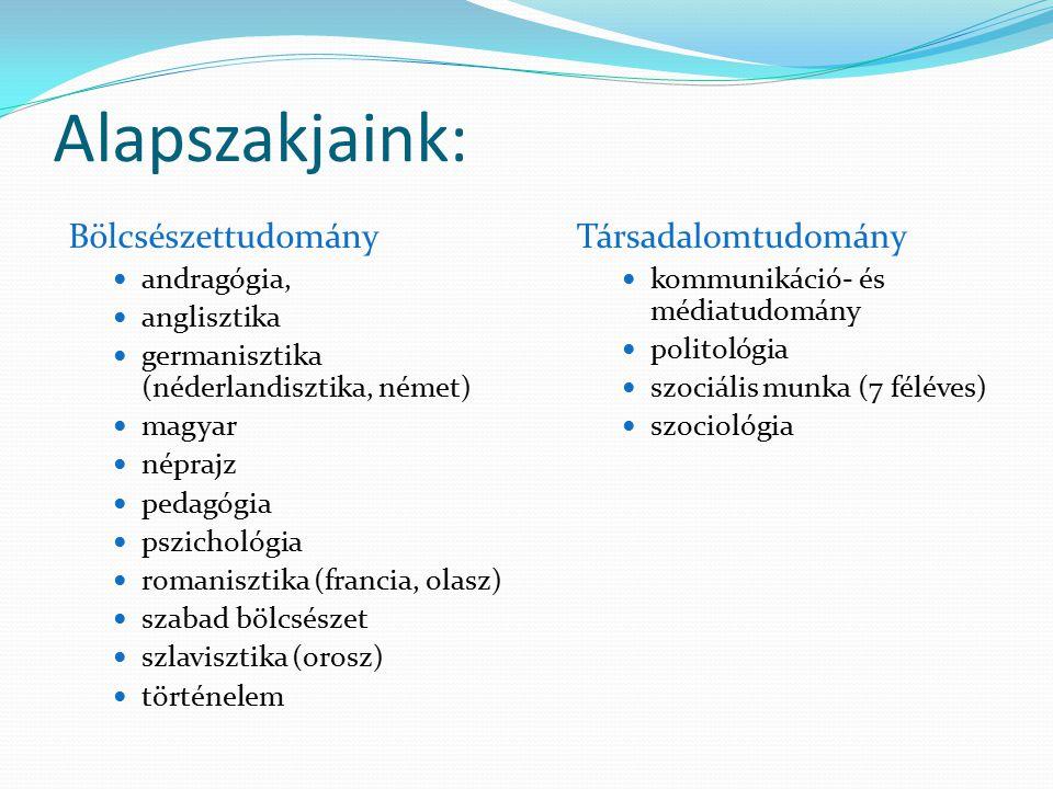Alapszakjaink: Bölcsészettudomány andragógia, anglisztika germanisztika (néderlandisztika, német) magyar néprajz pedagógia pszichológia romanisztika (