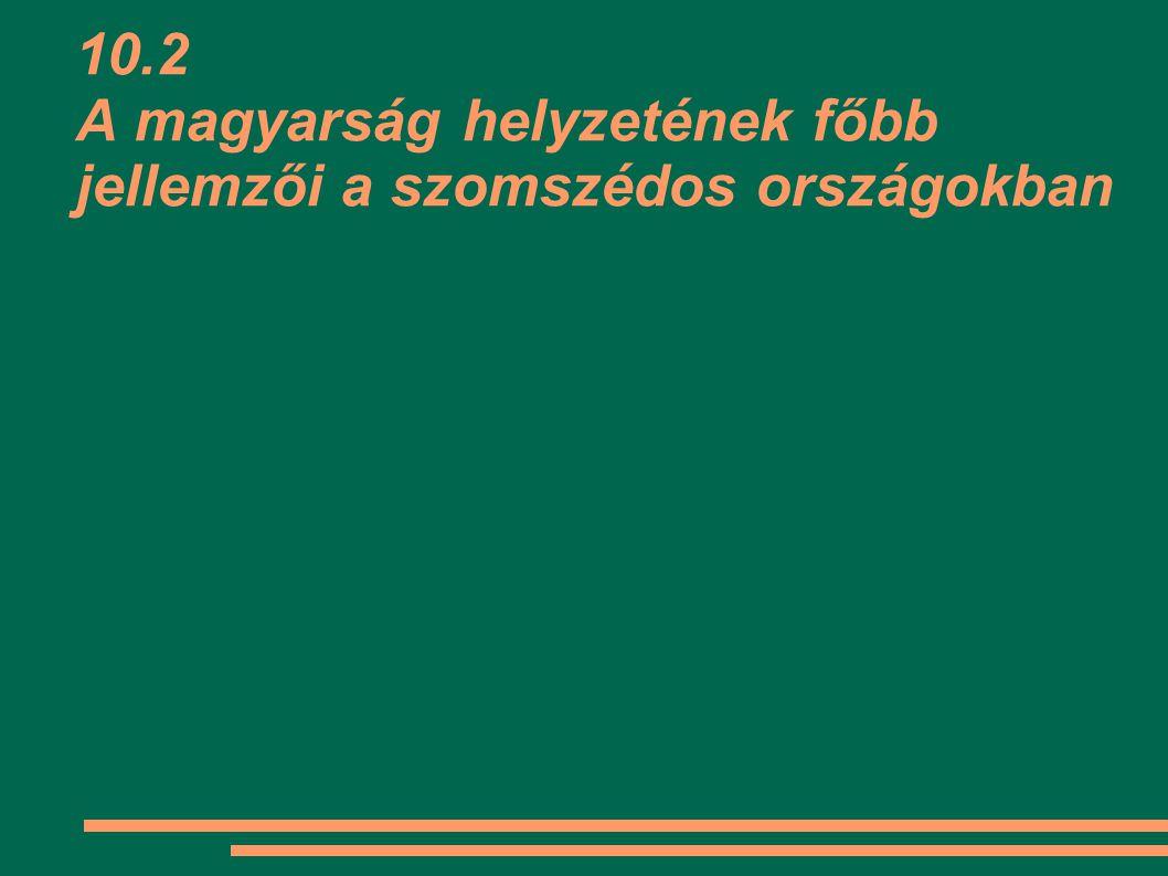 10.2 A magyarság helyzetének főbb jellemzői a szomszédos országokban