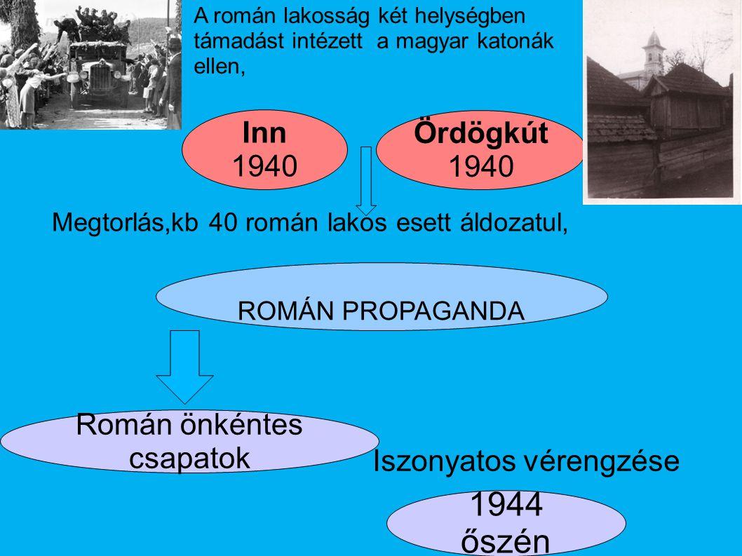 Ördögkút 1940 1944 őszén Román önkéntes csapatok Iszonyatos vérengzése ROMÁN PROPAGANDA Inn 1940 A román lakosság két helységben támadást intézett a m