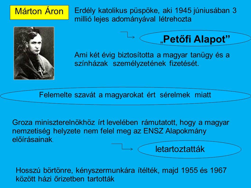 """Márton Áron Erdély katolikus püspöke, aki 1945 júniusában 3 millió lejes adományával létrehozta """" Petőfi Alapot"""" Ami két évig biztosította a magyar ta"""