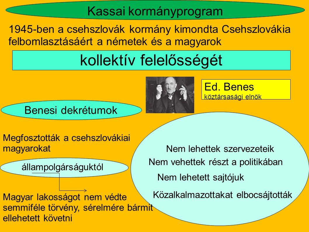 Kassai kormányprogram 1945-ben a csehszlovák kormány kimondta Csehszlovákia felbomlasztásáért a németek és a magyarok kollektív felelősségét Ed. Benes