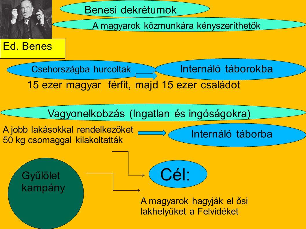 Ed. Benes 15 ezer magyar férfit, majd 15 ezer családot Benesi dekrétumok Csehországba hurcoltak Internáló táborba A jobb lakásokkal rendelkezőket 50 k