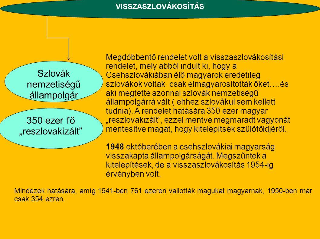 Megdöbbentő rendelet volt a visszaszlovákosítási rendelet, mely abból indult ki, hogy a Csehszlovákiában élő magyarok eredetileg szlovákok voltak csak