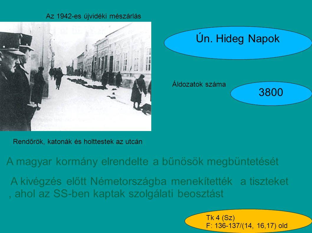 Az 1942-es újvidéki mészárlás Ún. Hideg Napok Áldozatok száma 3800 A magyar kormány elrendelte a bűnösök megbüntetését A kivégzés előtt Németországba