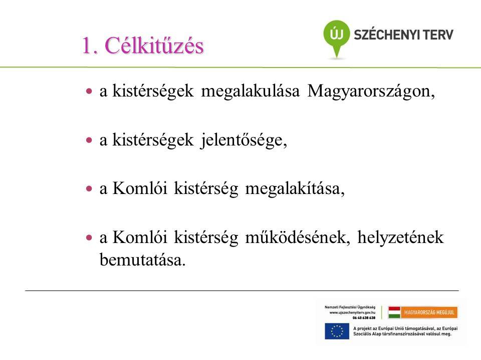1. Célkitűzés a kistérségek megalakulása Magyarországon, a kistérségek jelentősége, a Komlói kistérség megalakítása, a Komlói kistérség működésének, h