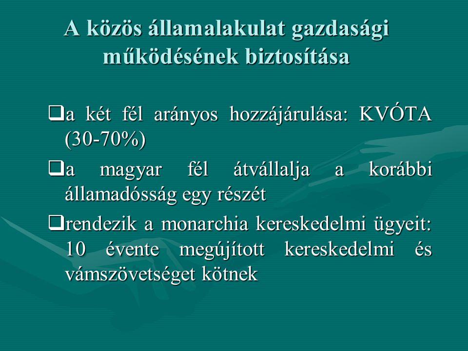 A közös államalakulat gazdasági működésének biztosítása  a két fél arányos hozzájárulása: KVÓTA (30-70%)  a magyar fél átvállalja a korábbi államadó