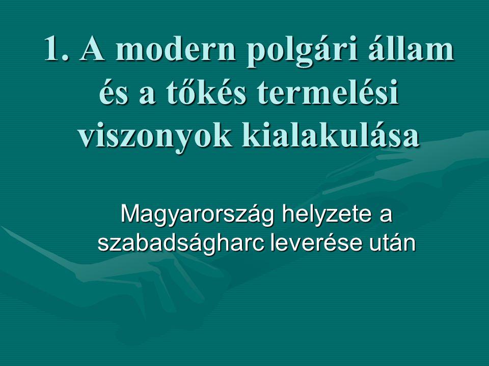 """A szabads á gharc lever é s é nek k ö vetkezm é nyei:  Magyarországon a polgári átalakulás időlegesen megreked, a birodalom irányításának módja visszatér az önkényuralmi eszközökhöz  a Habsburgok megpróbálják Mo-t erőszakos eszközökkel a """"Gesamtmonarchie -ba integrálni, beolvasztani  Haynau rémuralma 1849 végéig a megtorlás, a megfélemlítés eszköze (az aradi 13 vértanú és Batthyány Lajos kivégzése, bebörtönzések)  Magyarországon a polgári átalakulás időlegesen megreked, a birodalom irányításának módja visszatér az önkényuralmi eszközökhöz  a Habsburgok megpróbálják Mo-t erőszakos eszközökkel a """"Gesamtmonarchie -ba integrálni, beolvasztani  Haynau rémuralma 1849 végéig a megtorlás, a megfélemlítés eszköze (az aradi 13 vértanú és Batthyány Lajos kivégzése, bebörtönzések)"""