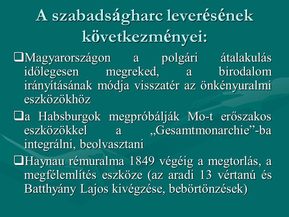 A szabads á gharc lever é s é nek k ö vetkezm é nyei:  Magyarországon a polgári átalakulás időlegesen megreked, a birodalom irányításának módja vissz