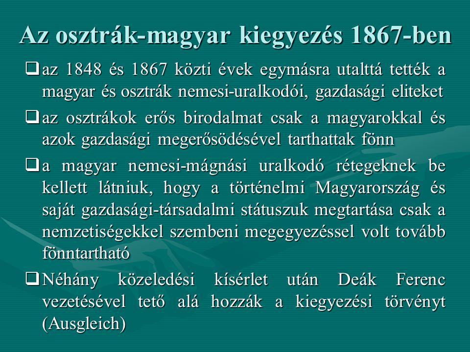 A Kiegyezés jellemzői:  A Kiegyezés egy valós erőviszonyokra épülő kompromisszum  A jogalkotás szempontjából visszatérnek a mindkét fél által elfogadható minimális kompromisszumhoz: az 1723-as Pragmatica Sanctio-hoz.