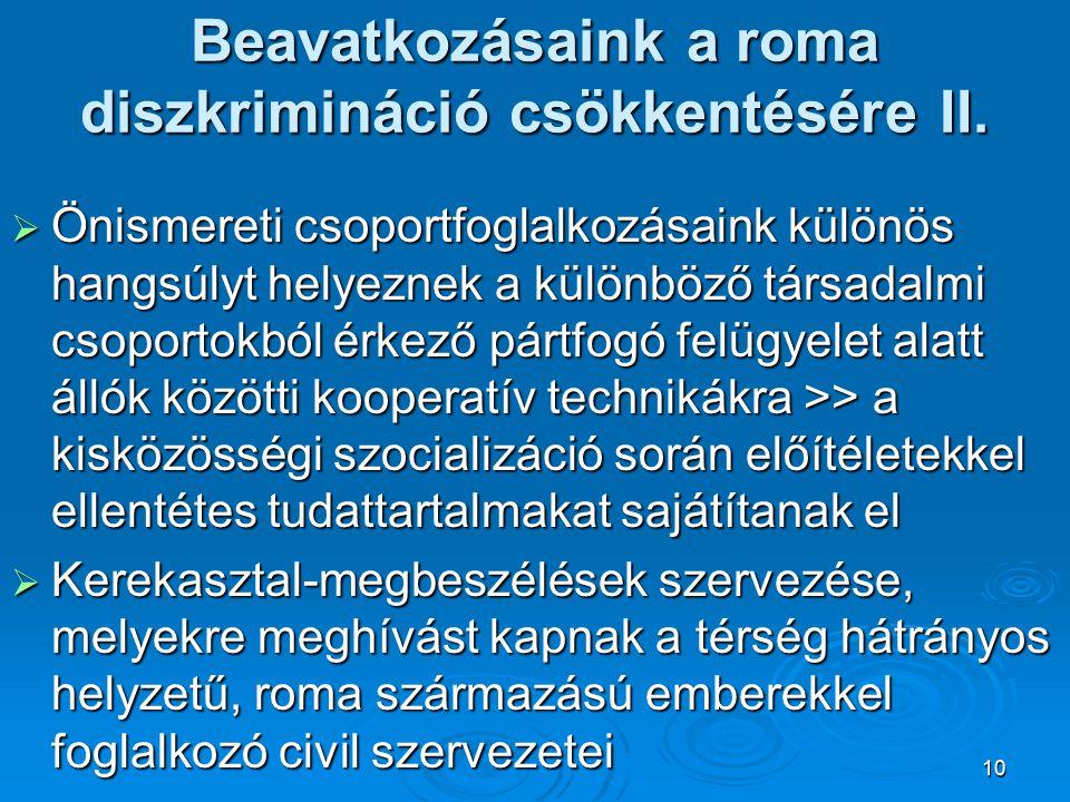 10 Beavatkozásaink a roma diszkrimináció csökkentésére II.