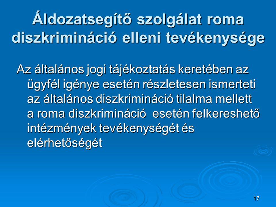 17 Áldozatsegítő szolgálat roma diszkrimináció elleni tevékenysége Az általános jogi tájékoztatás keretében az ügyfél igénye esetén részletesen ismerteti az általános diszkrimináció tilalma mellett a roma diszkrimináció esetén felkereshető intézmények tevékenységét és elérhetőségét