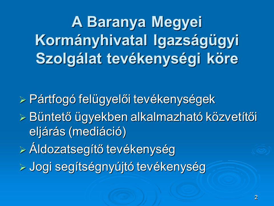 2 A Baranya Megyei Kormányhivatal Igazságügyi Szolgálat tevékenységi köre  Pártfogó felügyelői tevékenységek  Büntető ügyekben alkalmazható közvetítői eljárás (mediáció)  Áldozatsegítő tevékenység  Jogi segítségnyújtó tevékenység