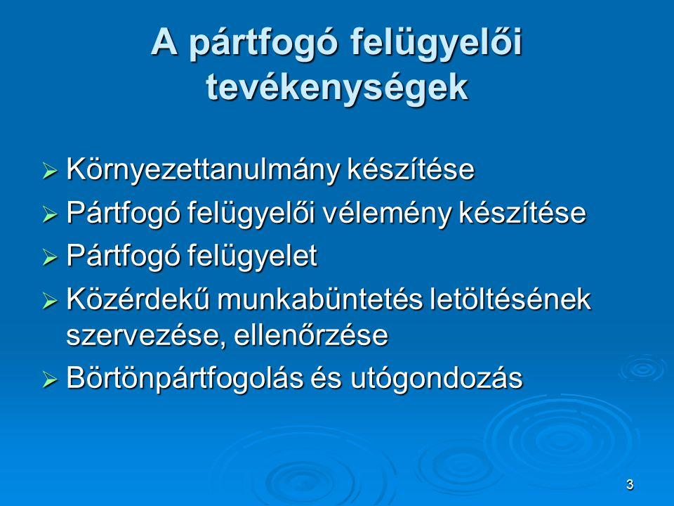 3 A pártfogó felügyelői tevékenységek  Környezettanulmány készítése  Pártfogó felügyelői vélemény készítése  Pártfogó felügyelet  Közérdekű munkabüntetés letöltésének szervezése, ellenőrzése  Börtönpártfogolás és utógondozás