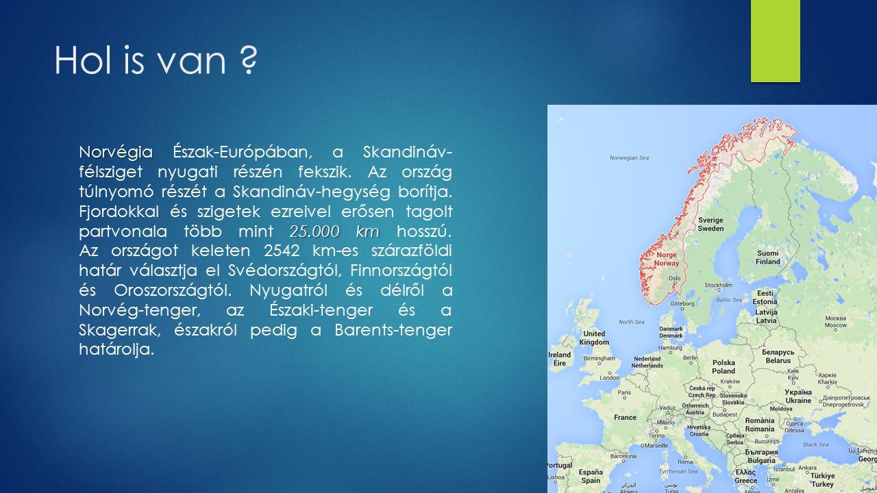 Hol is van ? Norvégia 25.000 km Norvégia Észak-Európában, a Skandináv- félsziget nyugati részén fekszik. Az ország túlnyomó részét a Skandináv-hegység